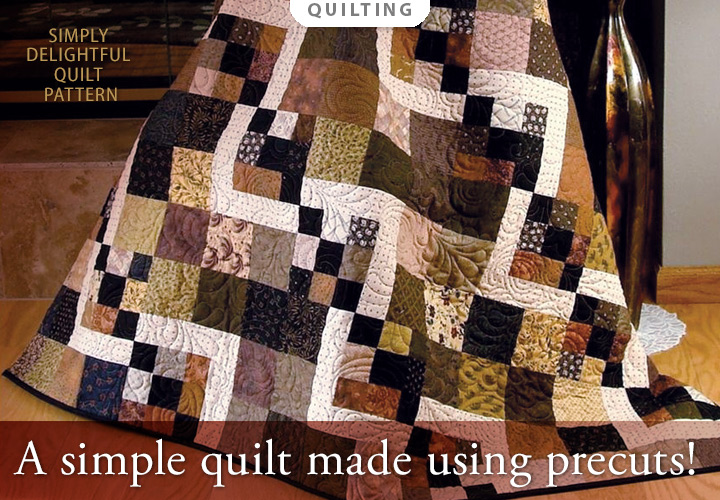 Simply Delightful Quilt Pattern -- A simple quilt made using fabric pre-cuts