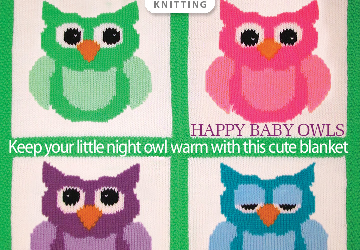 Happy Baby Owls Set Knit Pattern -- Keep your little night owl warm with this cute baby blanket