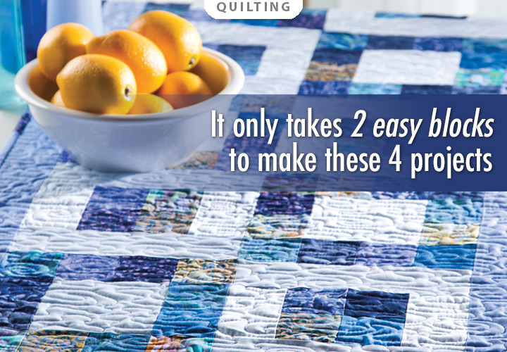 It Takes Two Pattern or Quilted Bed Runner Kit -- It only takes 2 easy blocks to stitch these 4 quilting patterns