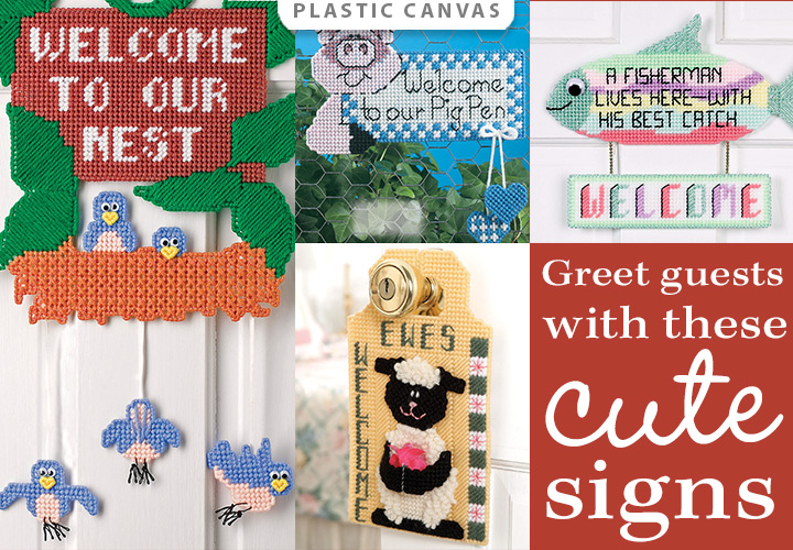 Welcome Guests Plastic Canvas Patterns -- Greet guests with these cute signs
