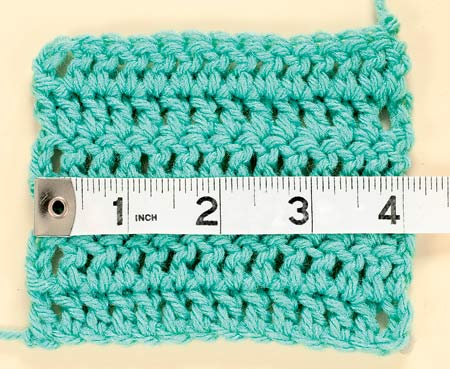 Crochet Stitch Gauge : This photo shows how to measure your gauge.