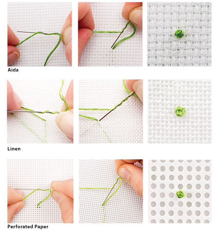 how to do a french knot in counted cross stitch